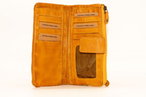 billetera de mujer en piel stamp